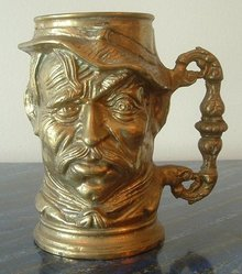 Old Brass Character Jug Tyrolean Style Man