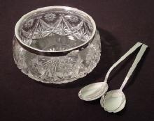 Cut Glass Bowl with Silver Rim & Servers