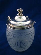 Smoked/etched Glass Biscuit Barrel