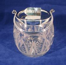 Etched Glass Biscuit Barrel with birds