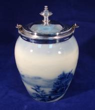 Flo Blue China Biscuit Barrel