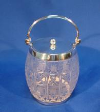 Etched Glass Biscuit Barrel by Elkington