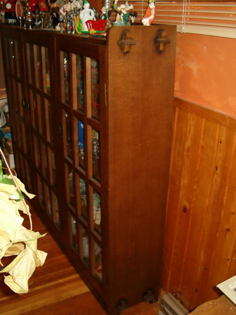 mission style bookcase  3-door pegged