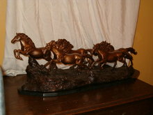 5 running horses bronze sculpture