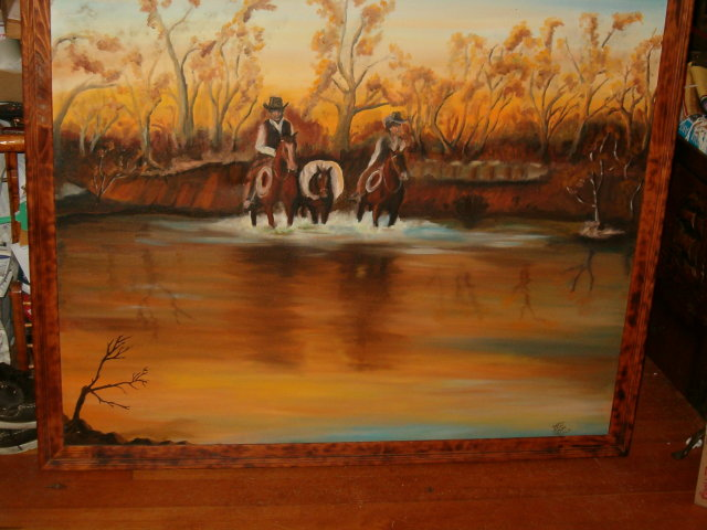 Western painting - cowboys crossing a river