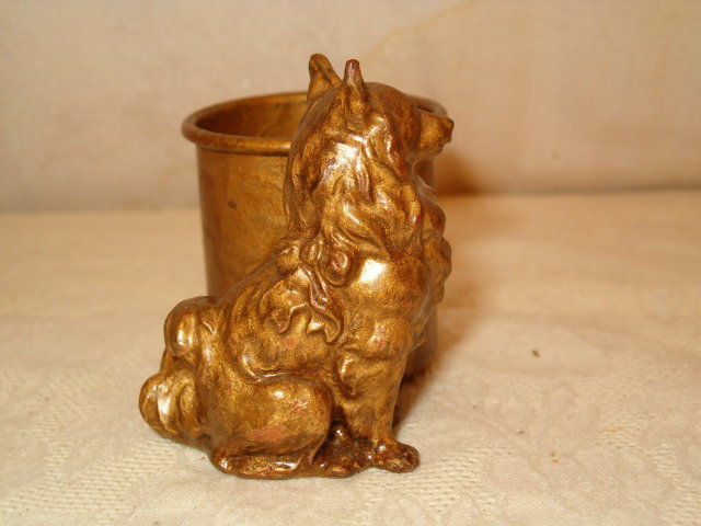 Papillion dog copper toothpick  holder