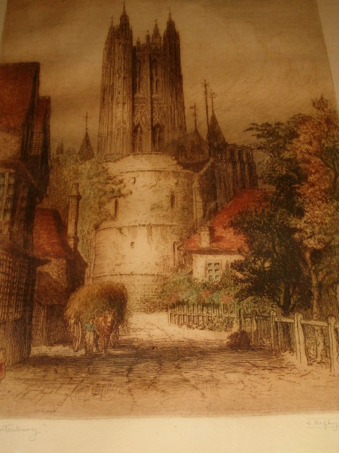 Original Canterbury Etching j.Alphege Brewer