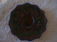 Vintage , Fenton Glass , Pine Comb , 6 inch Saphire Blue Plate