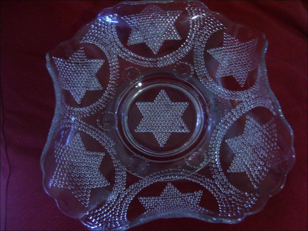Vintage , Fenton Art Glass , Rare White Beaded Stars Handgrip Plate