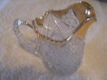 American Brilliant Cut Glass ,  Nearcut Pitcher with Gold  Top