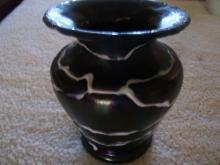 After Loetz , Blown Black and White Swirled Art Nouveau  Vase