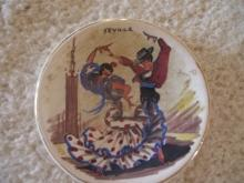 Early Sevilla Hand painted  novelty Display Plate by Cameron Clay Products of West Virginia