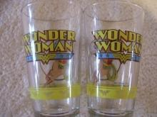 Vintage , From the Line of DC Comics Super Stars set of 2 Wonder Woman glasses