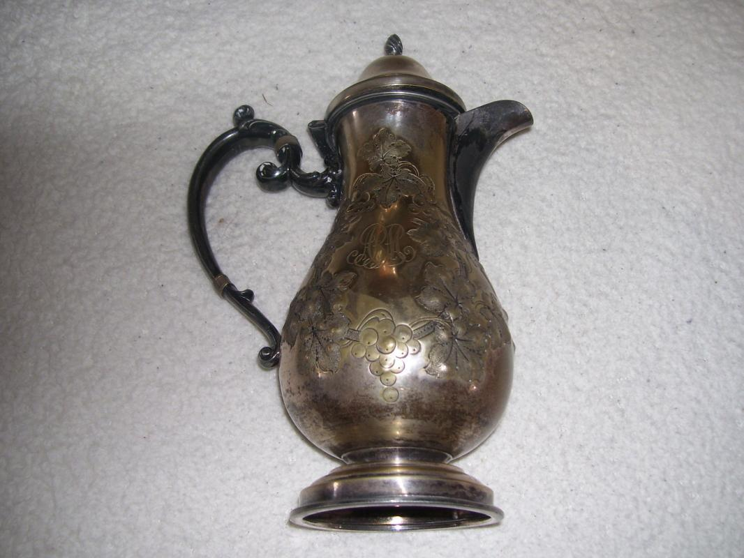 Vintage 19 th Century Hand Hammered Grape & Vine Tea Pot by Barbour Silver Co.