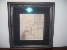 Lichenstein ,Colored and Pencil Still Life Study  of Desk, Brief case on desk and window, Signed : R. Lichtenstein- New York Artist (1923-1997)