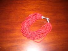 A ladies Multi strand Red Natural Coral Bracelet
