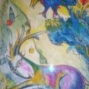 Marc Chagall-NY-1887-1985-Mixed Media on Paper- Village Animal Scene
