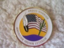 Proud Warrior- American Indian Veteran coin