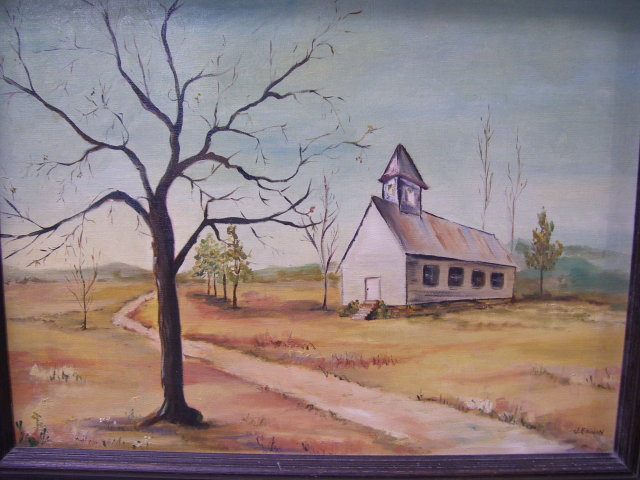 Rual Church - John (Jack )Bruce Erwin, ( Texas 1920-2009 ) 18 by 24 inch Oil on Canvas-Rual Church/Landscape
