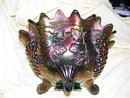 Fenton Grape&Cable/Persian Medallion Large 11 inch Green Fruit Bowl