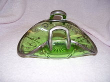 Heisey-Vintage Green Banana Basket with Silver Overlay