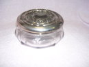 Vintage Heisy Stretched Thumbprint Dresser Box with Silver Lid