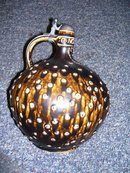 A- W. Germany--Pottery Large 10.75 by 8.50 inch, Tankard Jug ,Signed RMB-Stamped Western Germany