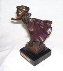 Signed ''  C.  Ferratt '' Blind Man's Bluff '' Bronze Sculpture