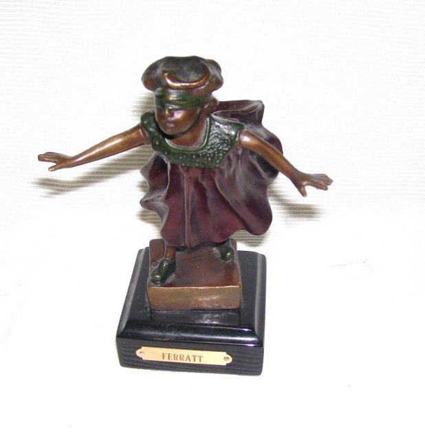Signed ''  C.  Ferratt '' Blind Man's Bluff '' Bronze Sculpture