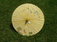 Vintage Chinese  Hand painted Art Cloth Umbrella
