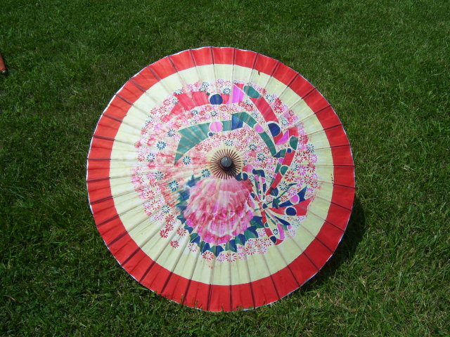 Chinese Parasol Red & White Paper Umbrella