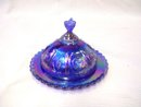 Imperial Glass  Blue Strawberry Covered Dish