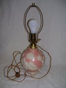 Aladdin, Ivory Opal-Alacite 1938 Glass, Electric, Bedside Table Lamp in Pink and white Floral Motif
