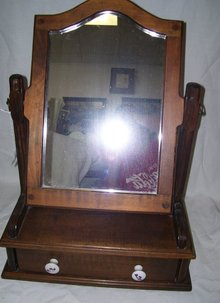 Vintage, Antique  Shaving Mirror with storage Drawer