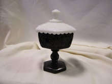 Imperial Glass Black and White Compote