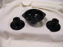 Console Set-Black Pottery 2 Candle Sticks and Bowl