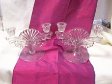 A vintage Pair Early American Pattern Glass Candle Holders