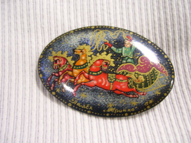 Russian Miniture Art  Broach Black Lacquer  Paper