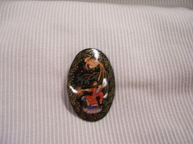 Russian Miniature Art Signed Broach