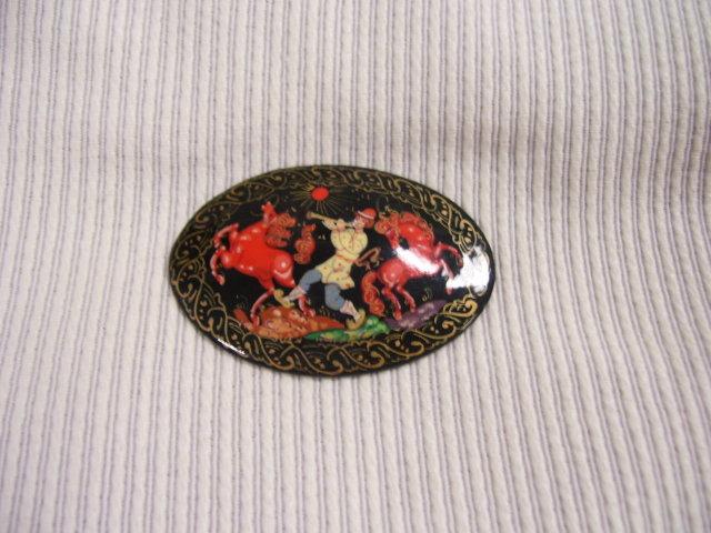 Russian Original Signed  MiniatureArt  Broach