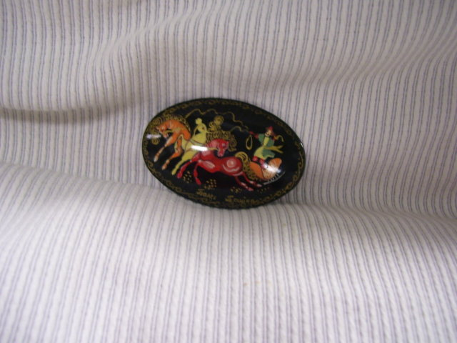 Russian  Vintage  Signed Miniature Art  Broach