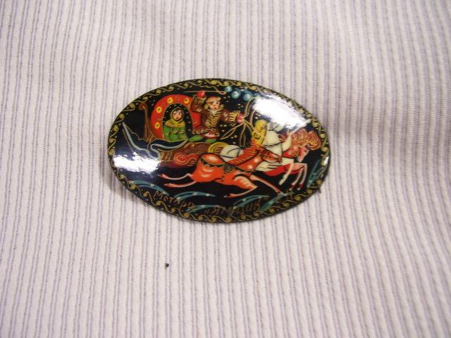 Russian Artist Signed Miniature Art  Broach