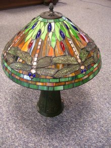 Vintage Tiffany Style Dragonfly 20.25  Inch Wide Lamp