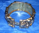 Vintage Signed-Whiting & Davis-  Gold Plated-Mesh Art Nouveau Locking Cuff Bracelet