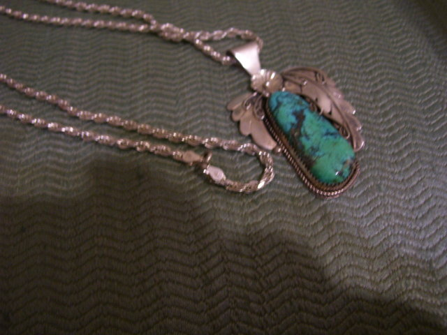 Turquoise Sterling Leaf Pendant /Sterling Silver Necklass