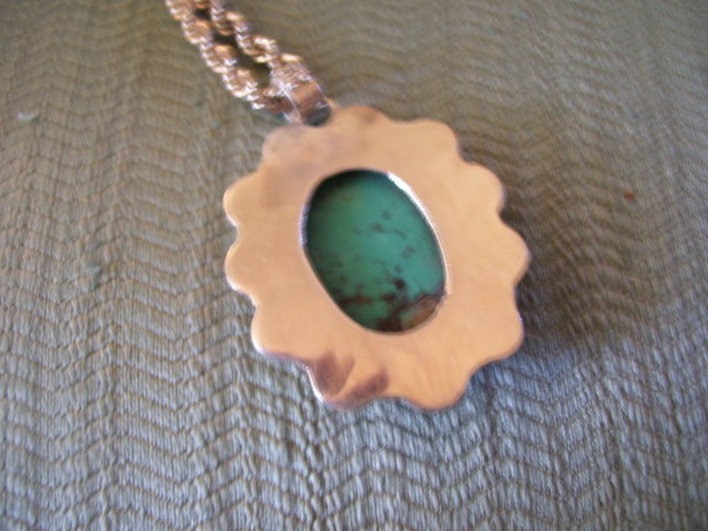 Turquoise Sterling Pendant  and rope chain