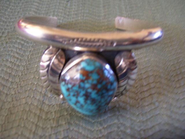 BisbeeTuquoise Cuff Bracelet -Double Leaf Silver Design