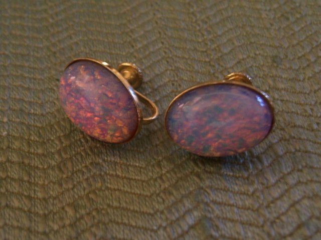 Opal Earrings-Vintage Screw Back-Firey Pink and Blue