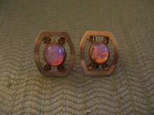 Opal Earrings-Vintage Screw Back-Firey Pink and Blue
