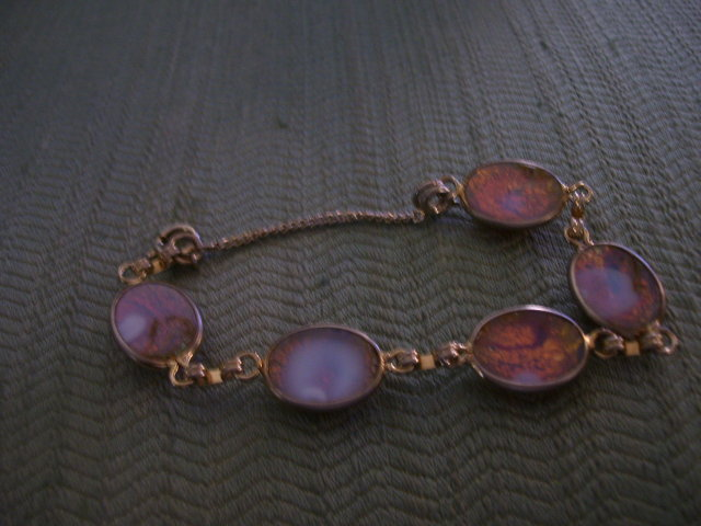 Opal Bracelet- (5) Vintage Channel Set -Firey Pink and Blue Stones
